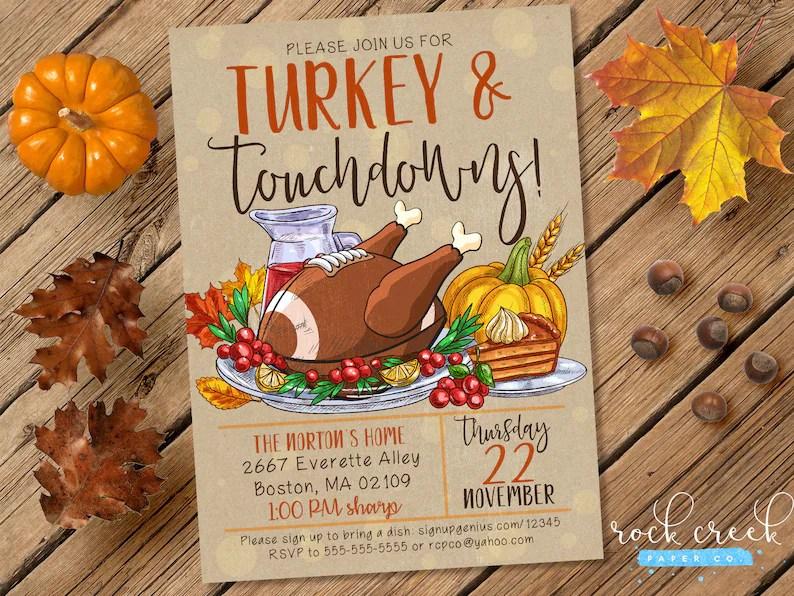 Turkey  Touchdowns Invitation Thanksgiving Dinner Etsy