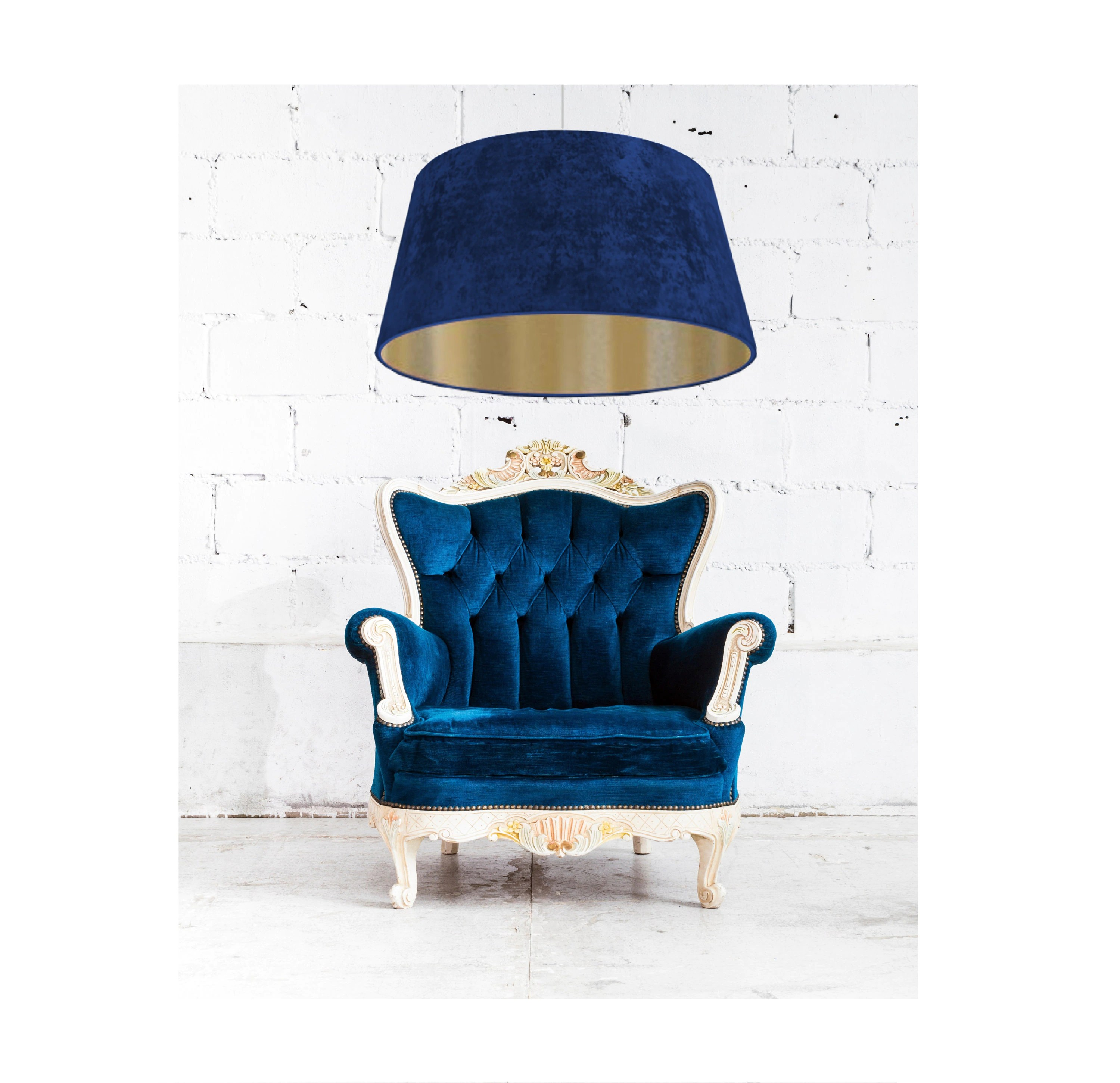 Lichthaus Worpswede Lamp Shade Gold And Velvet Conical Ø 60 70 Navy