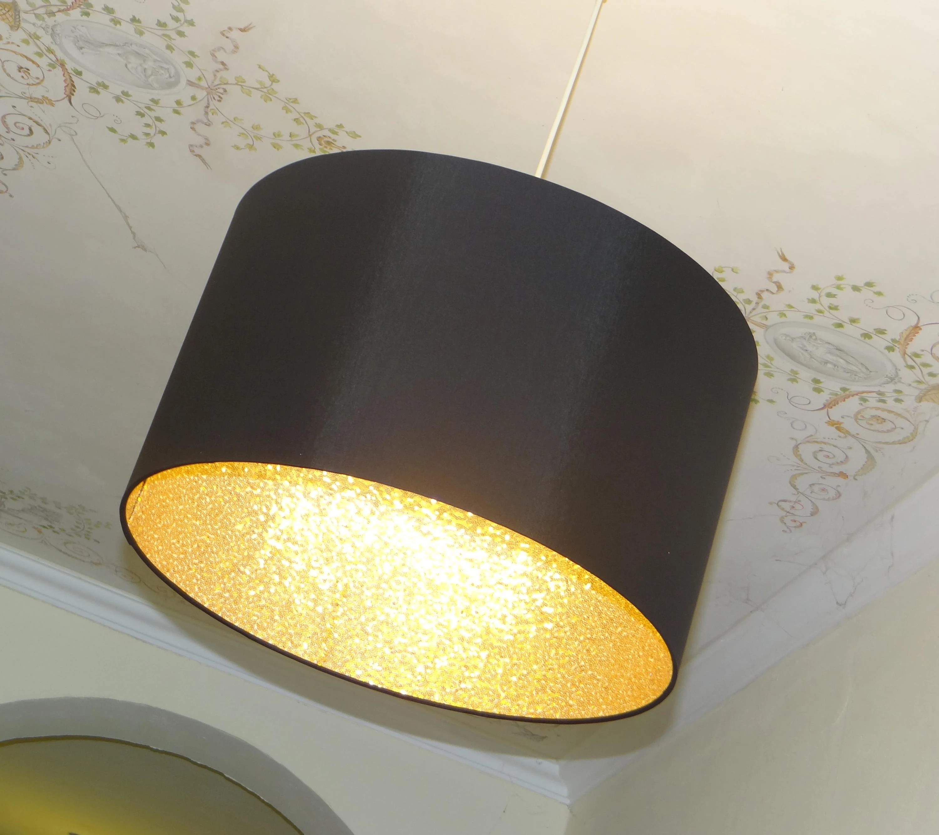 Lichthaus Worpswede Lampshade 45 Cm Black & Gold Sequins