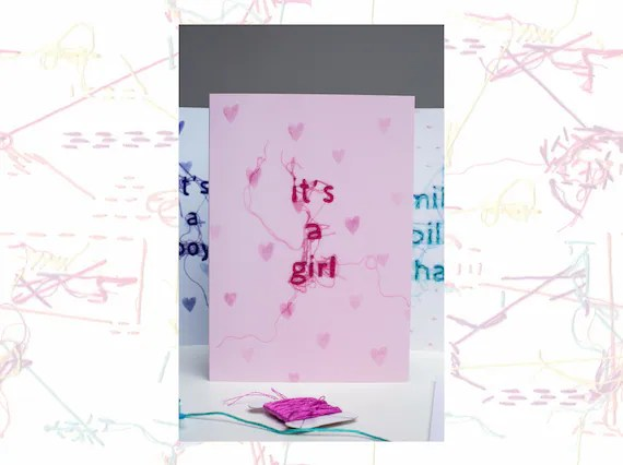 Baby Girl Card It\u0027s A Girl Card Greeting Card New Etsy