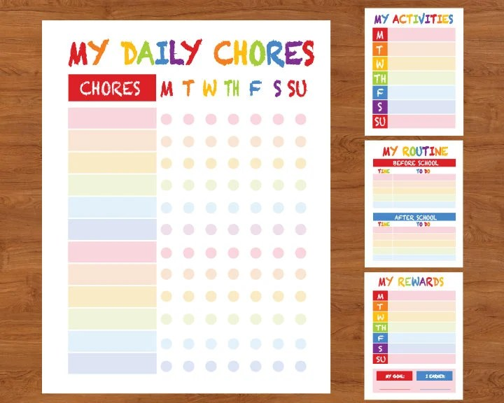Kids Chore Chart Printable Positive Behavior Chart Star Etsy