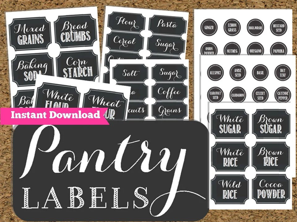 INSTANT DOWNLOAD Pantry Chalkboard Labels Printable Pantry Etsy