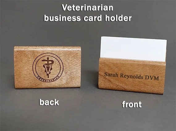 Veterinarian Personalized Red Alder Wood Business Card Holder Etsy