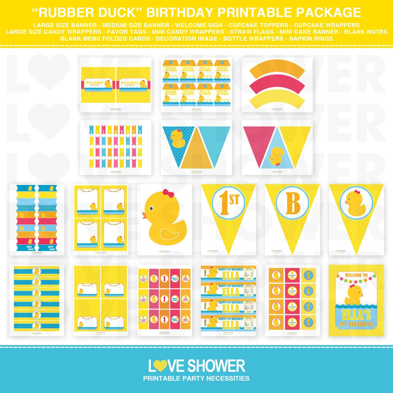 RUBBER DUCK Birthday Party Printables Big Full Package - 15 Items