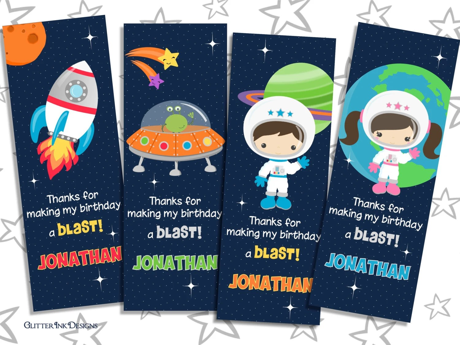 Space Rocket party pdf printable PERSONALIZED outer space thank you
