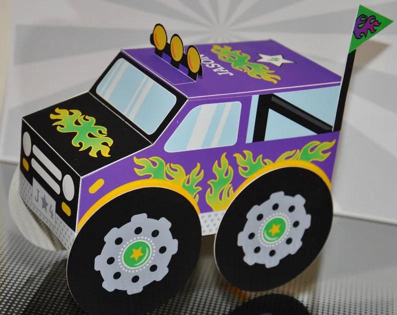 Monster truck favor box PDF printable cupcake treat box paper Etsy