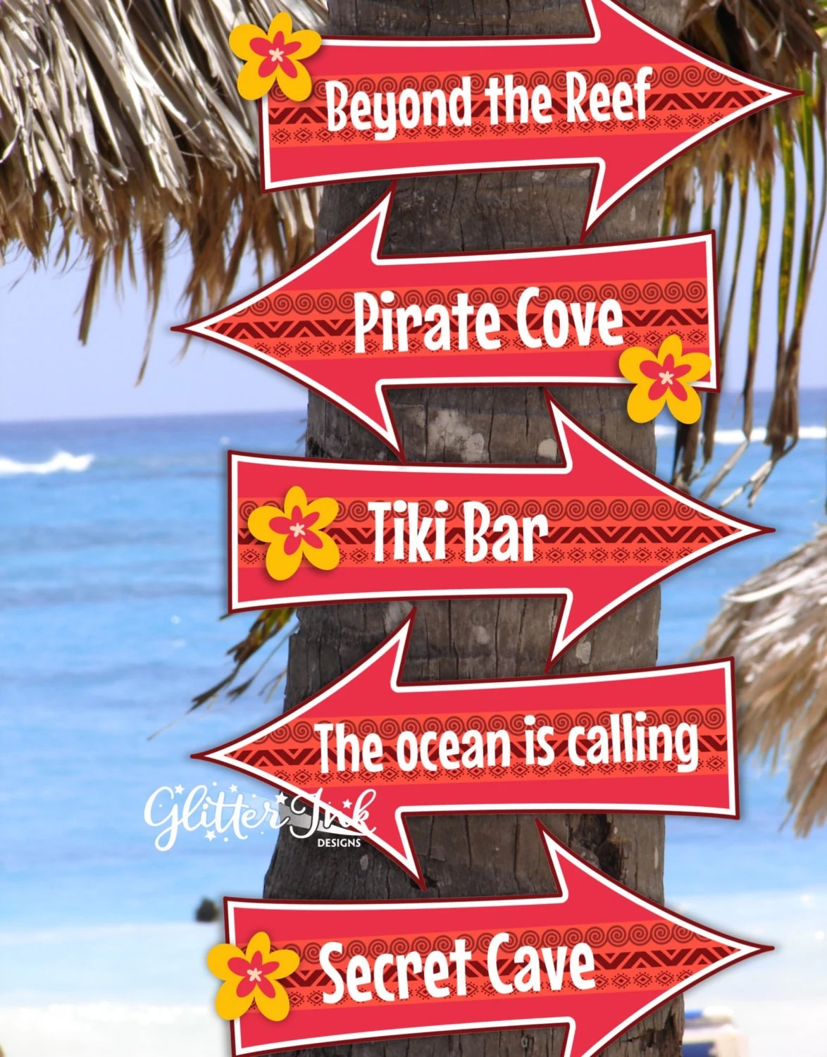 Moana Polynesian inspired party arrow signs pdf printable Photo Prop