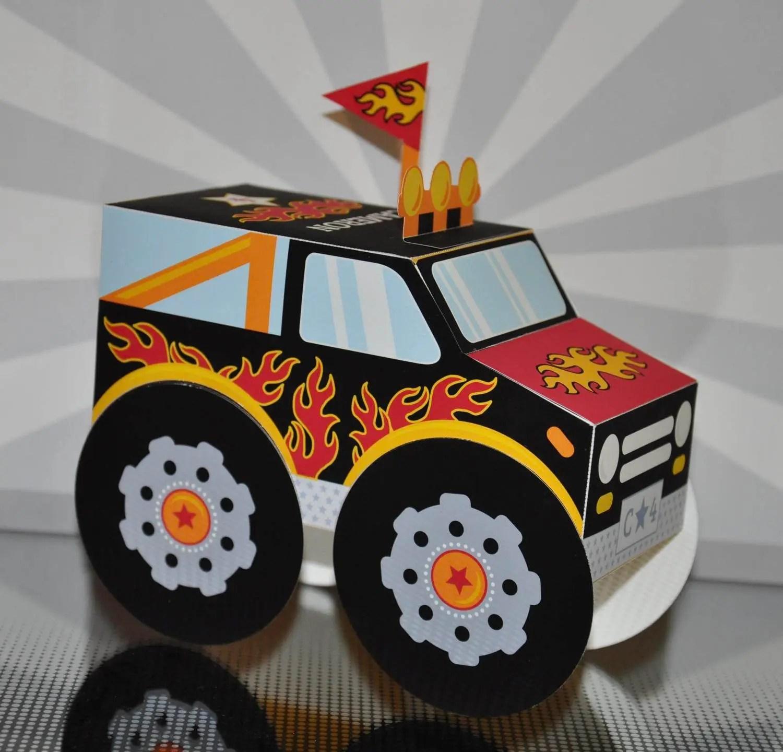 Monster truck party favor box PDF printable cupcake treat box Etsy