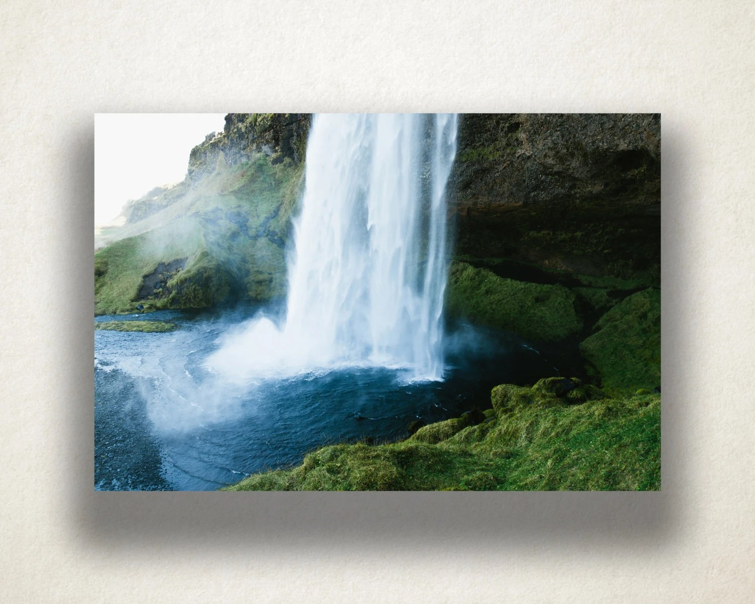 Printing Canvas Waterfall In Mountains Canvas Art Mountain Waterfall Wall Art