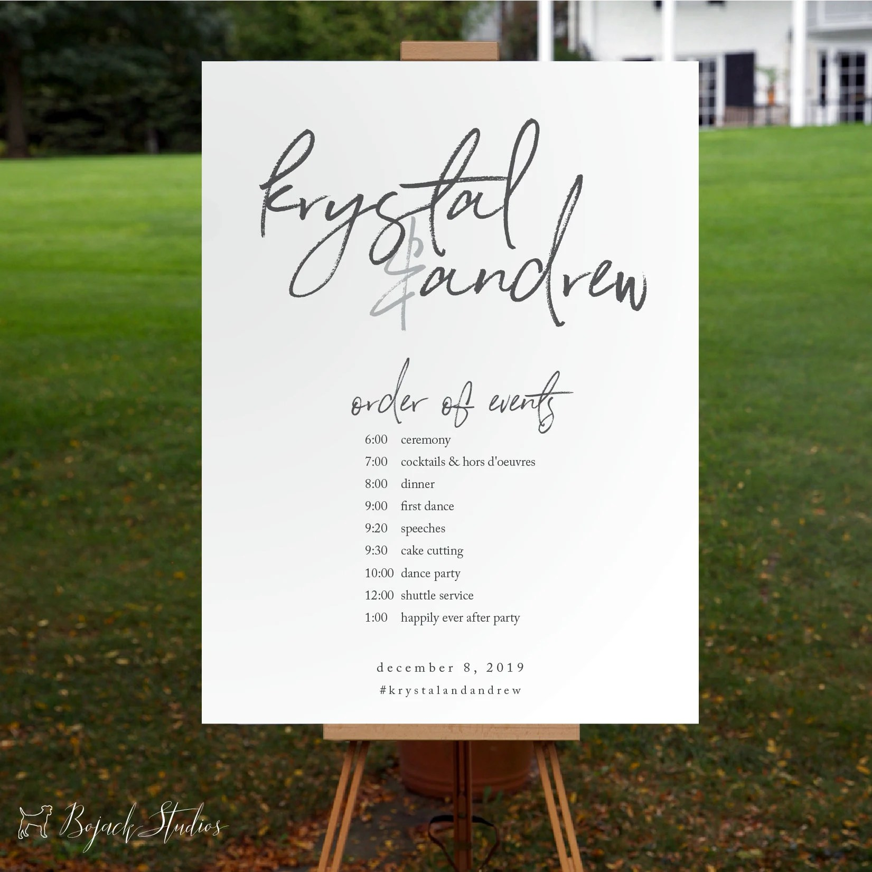 Wedding Schedule Poster Wedding Order of Events Timeline Etsy
