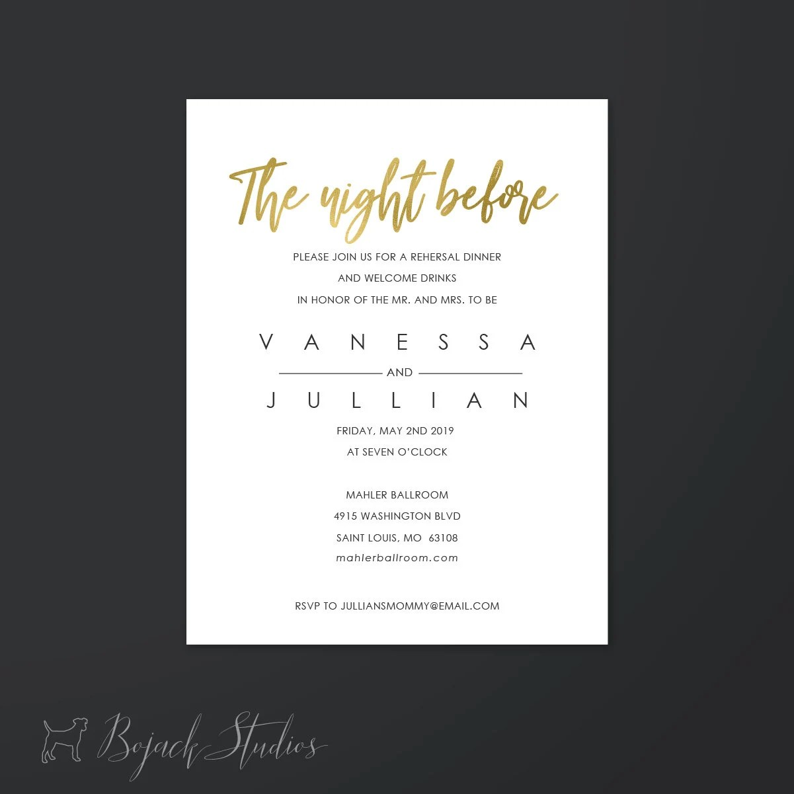Modern Script Wedding Invitation Insert Info Card Rehearsal Etsy