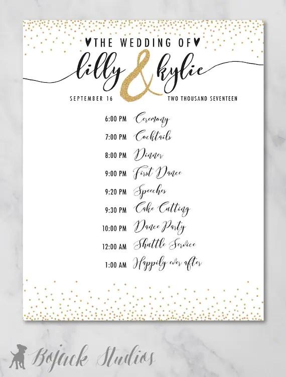 Kylie Wedding Schedule Poster Wedding Order of Events Etsy