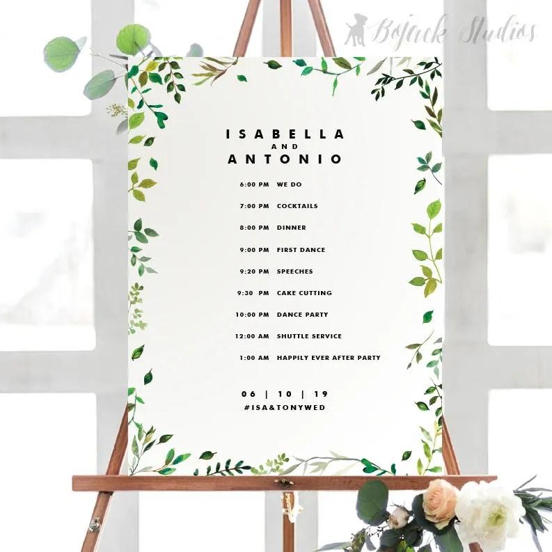 ISA Wedding Schedule Poster Wedding Order of Events Timeline Etsy