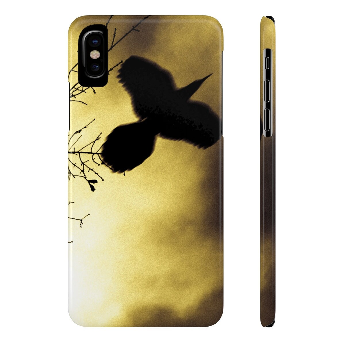 Smartphone Cases Crow Iphone Case Samsung Case Slim Smartphone Case Crow Raven Blackbird Black Bird Masculine For Guys Sepia Yellow Flying Bird