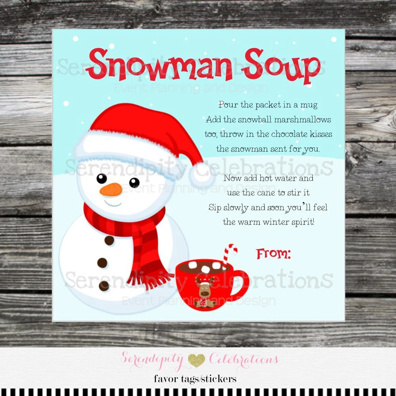 Snowman Soup Favor Tag Printable Snowman Soup Tag Snowman Etsy