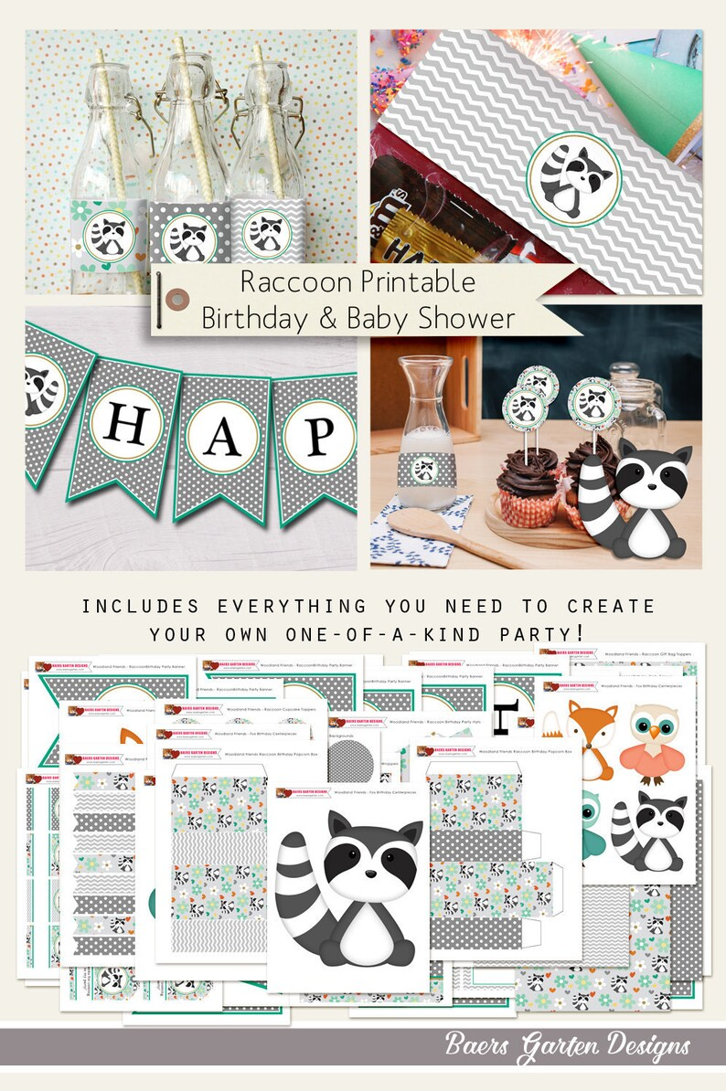 Garten Design Owl Woodland Friends Raccoon Printable Birthday And Baby Shower Party Decorations Instant Download