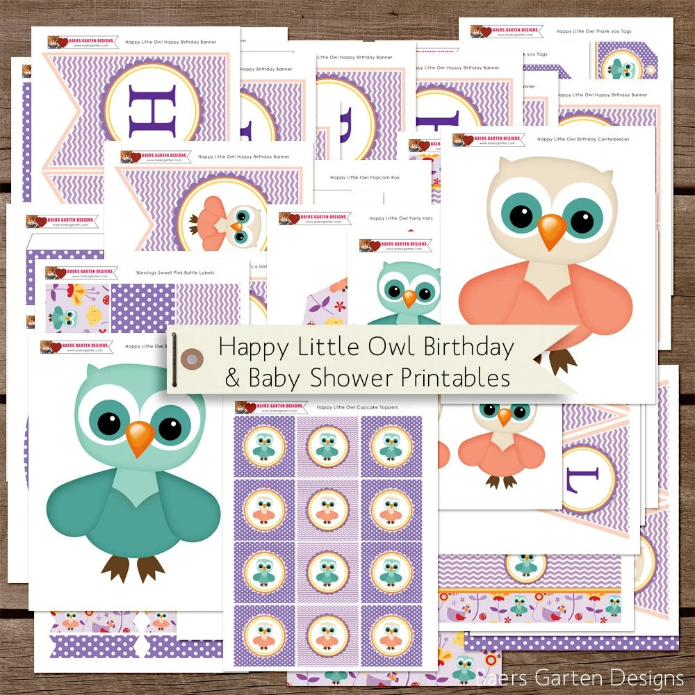 Garten Design Owl Woodland Friends Happy Little Owl Birthday And Baby Shower Printable Party Decorations Instant Download
