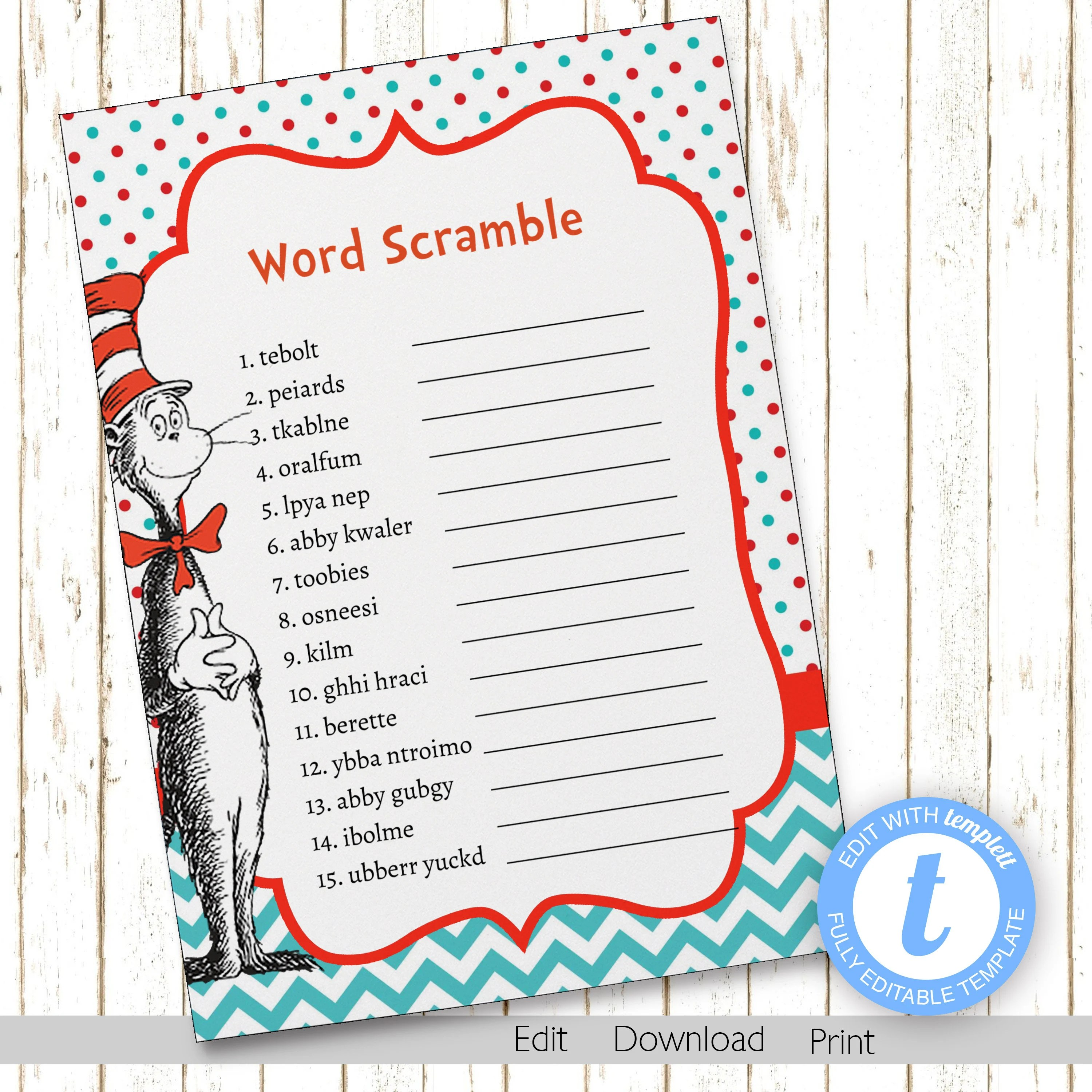 Dr Suess Word Scramble Game Cat in Hat Baby Shower Games Etsy