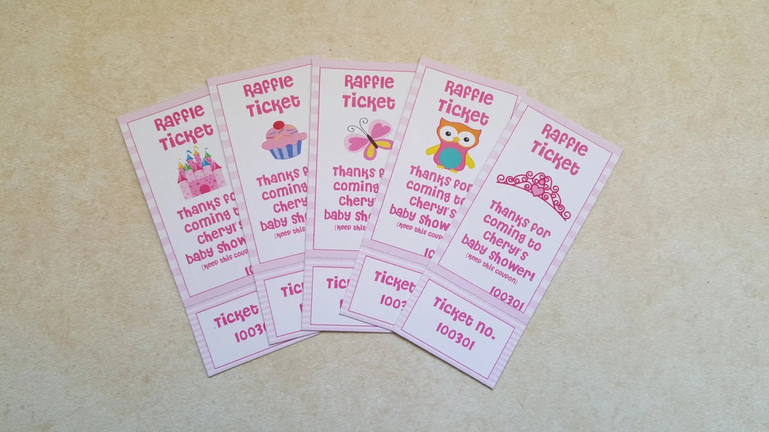 Perforated Girl Baby Shower Raffle Tickets Etsy