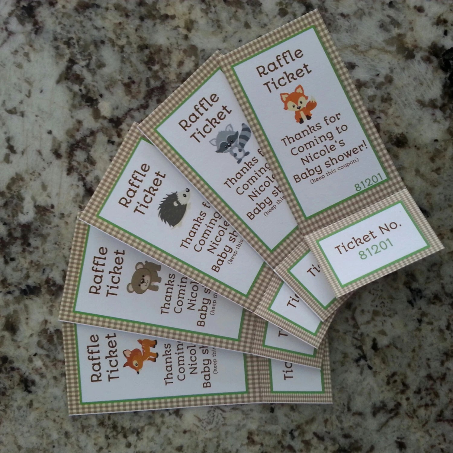 Perforated Woodland Animals Baby Shower Raffle Tickets mms002 Etsy