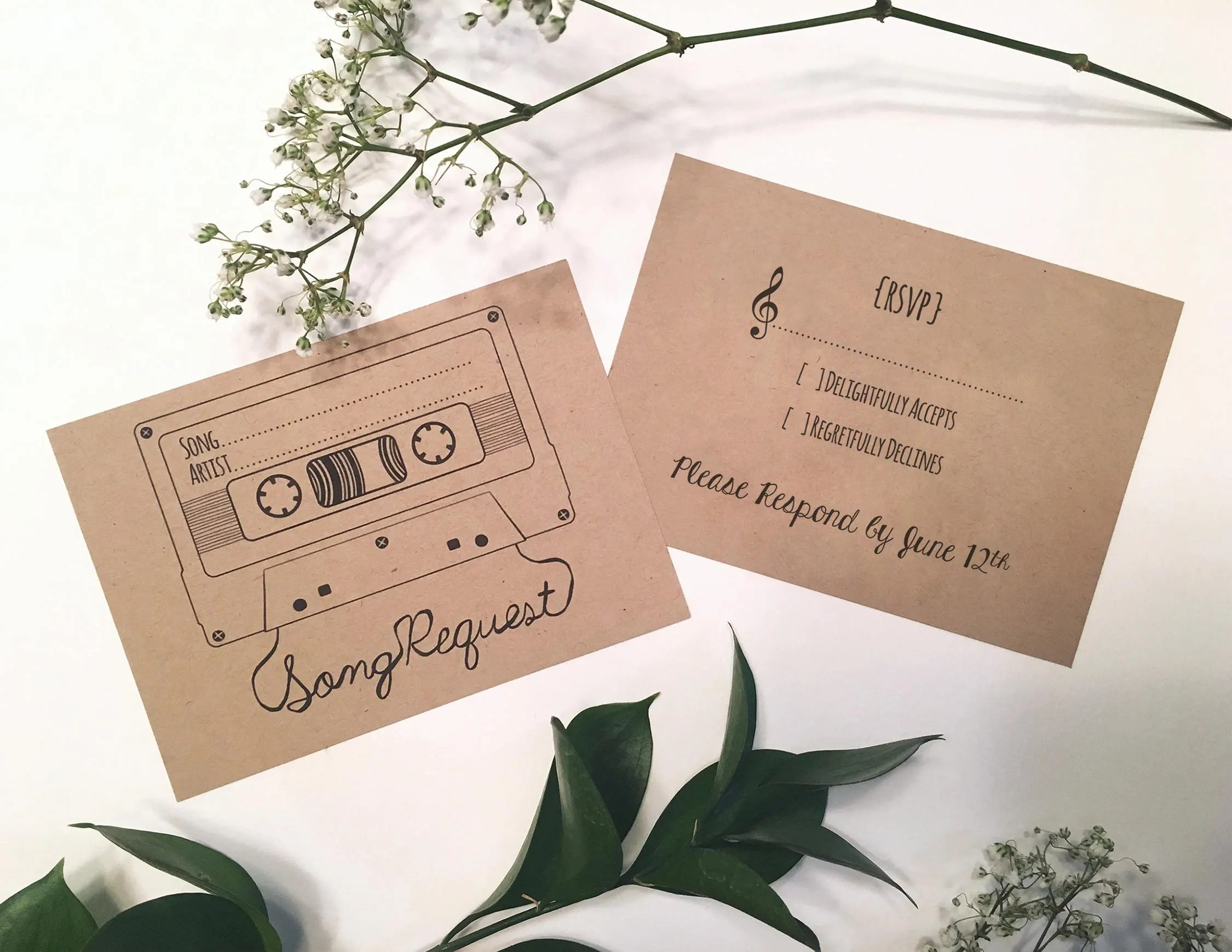 Song Request  RSVP Card Mixtape Style 2 Digital Etsy