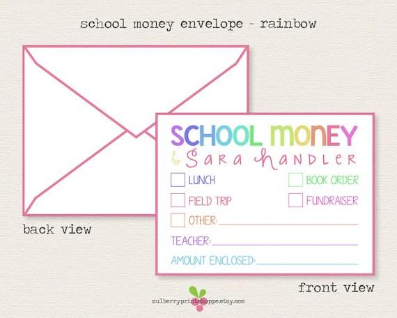 Unlimited Printable School Money Envelope Template DIY Etsy