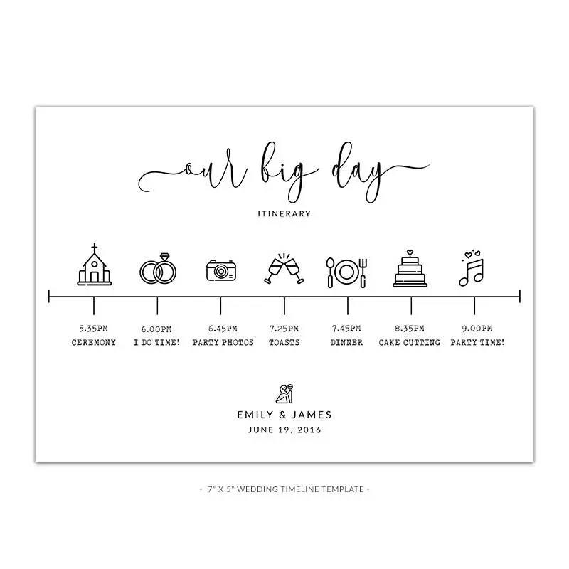 WD5 PSD  Wedding Timeline Template White  Rustic Look Etsy