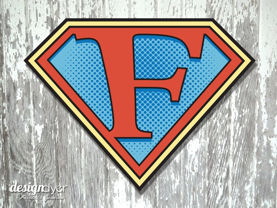 Superhero Initial F Sign Large 26X20 Etsy