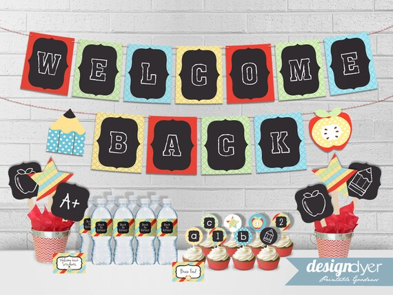 Back To School Party Printables Welcome Back Banner Cupcake Etsy