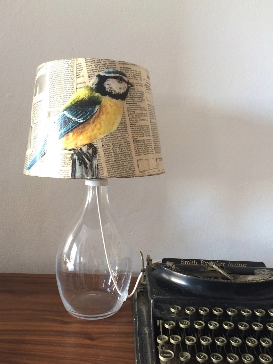 Side By Side Schmal Limited Upcycled Lampshade Bird Image Side Lamp Vintage Sewing Pattern Bird Lover Gift