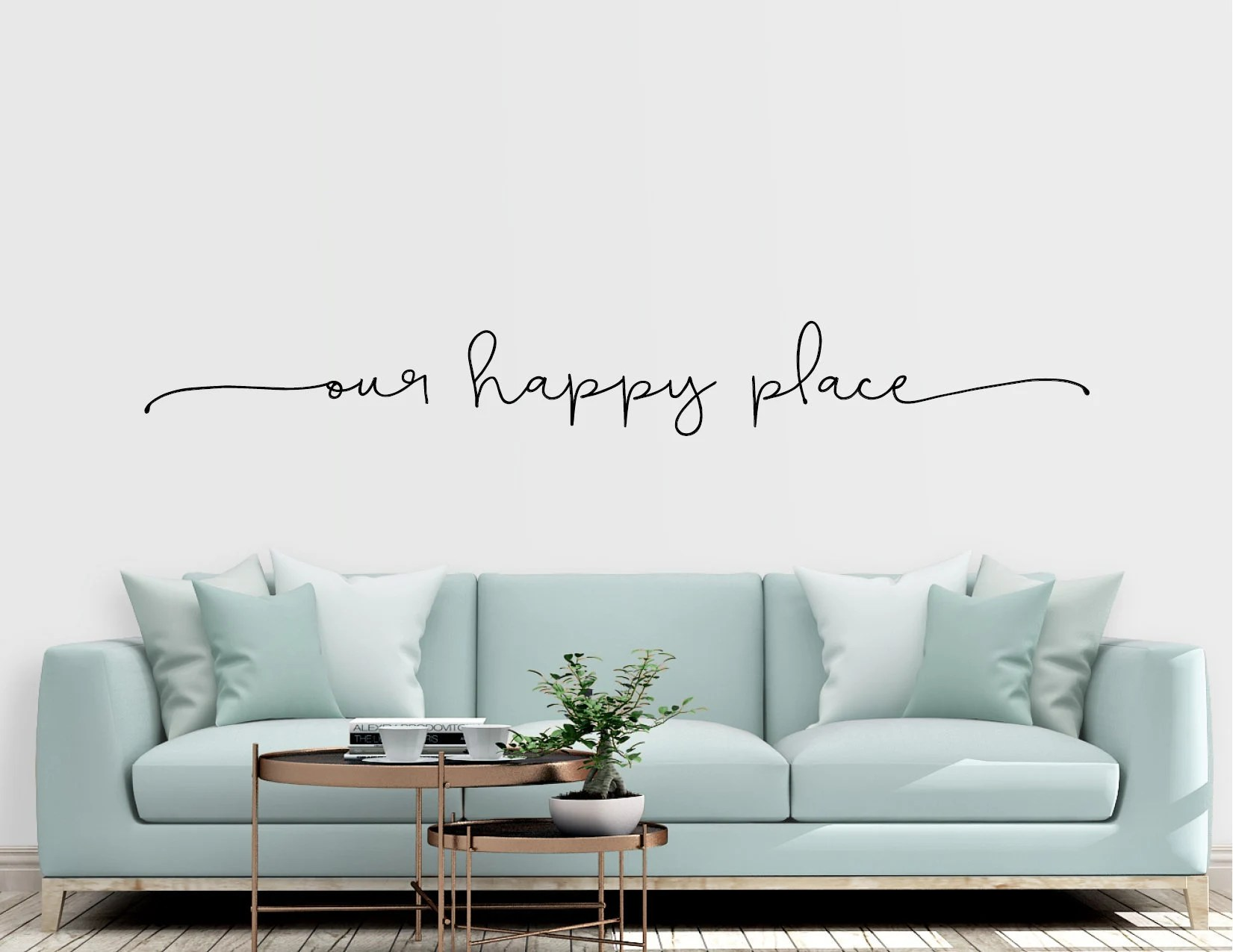 Abo Living At Home Our Happy Place Vinyl Wall Sticker Decal Home Farmhouse Etsy