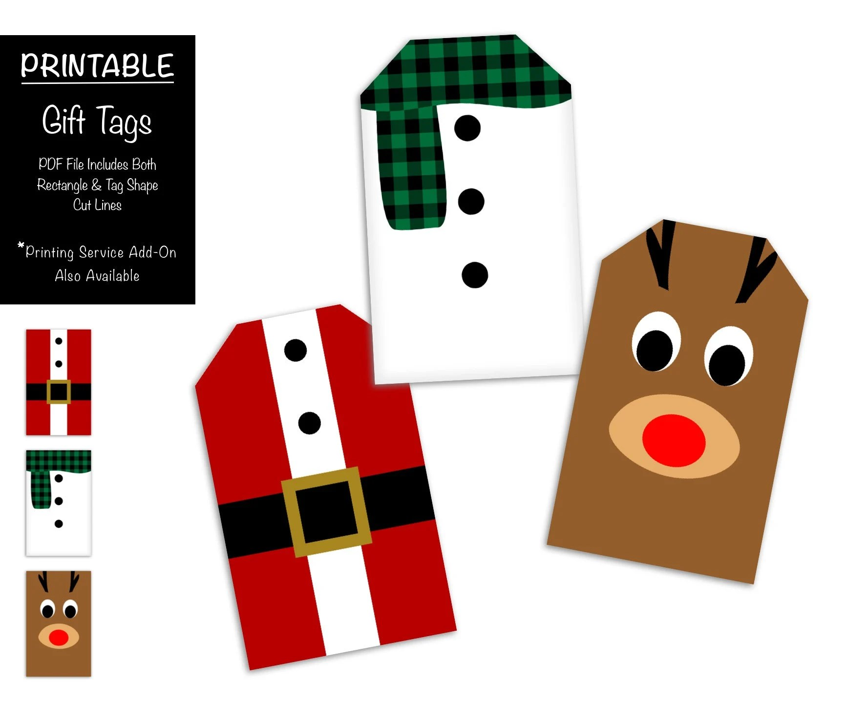 Cute Christmas Gift Tags PRINTABLE, Santa Claus Suit, Snowman