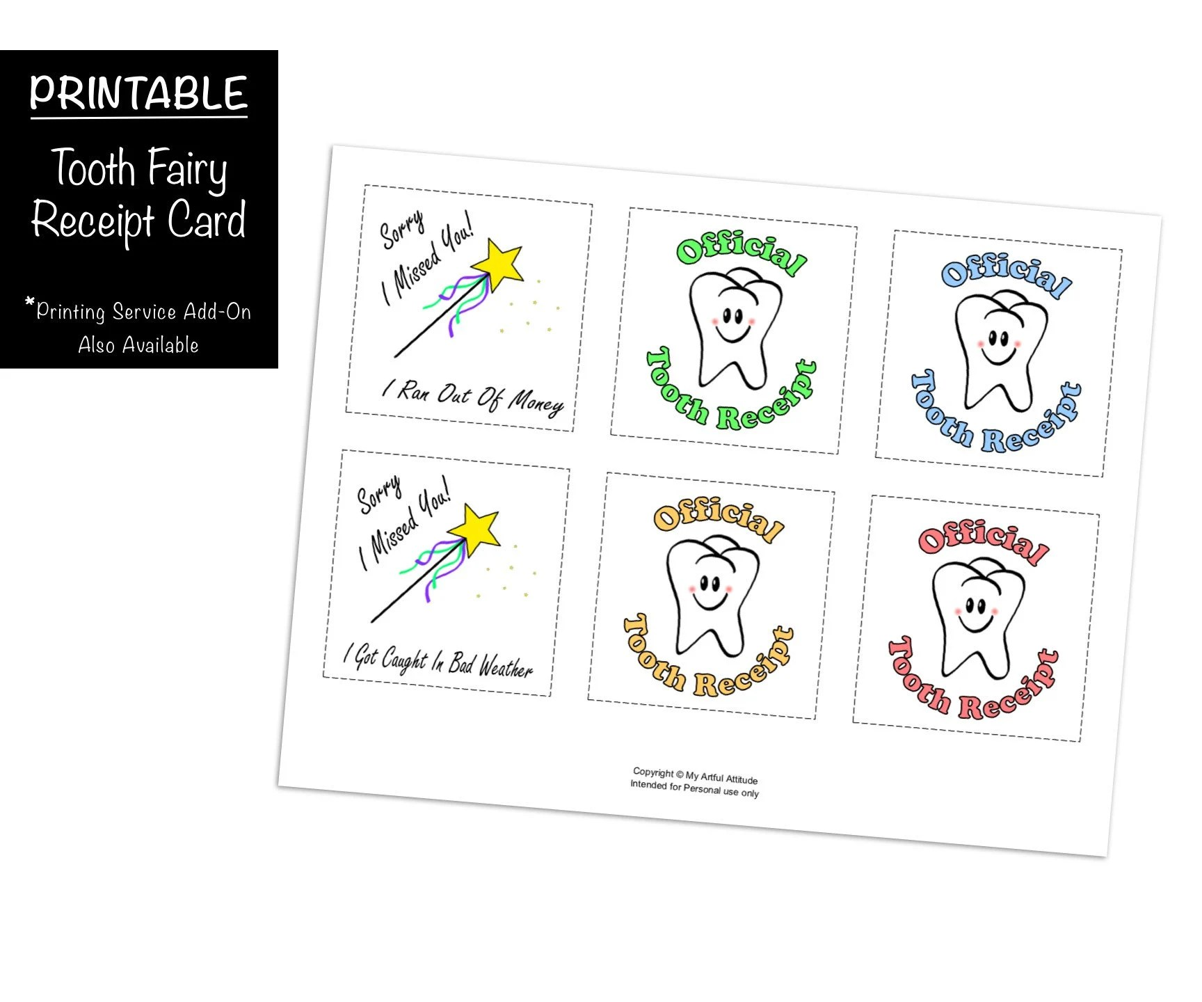 Tooth Fairy Receipt Cards PRINTABLE Lost Tooth Certificate Etsy