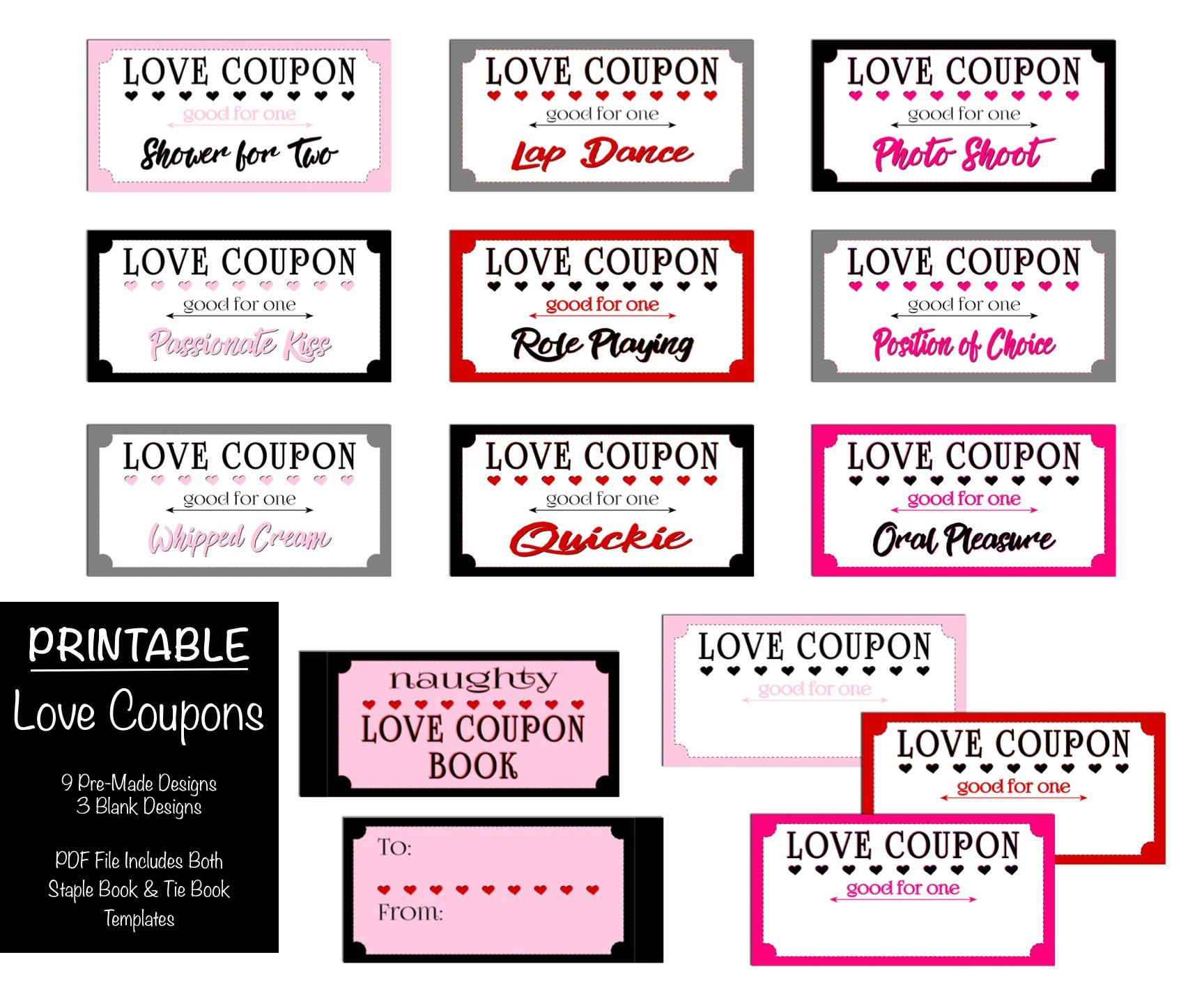 Naughty Coupon Book PRINTABLE, Valentine\u0027s Day Gift, Dirty Boyfriend