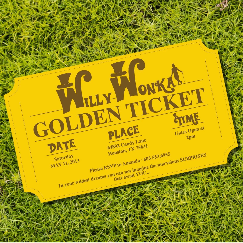 Golden Ticket Invitation Birthday Party Theme Instantly Etsy