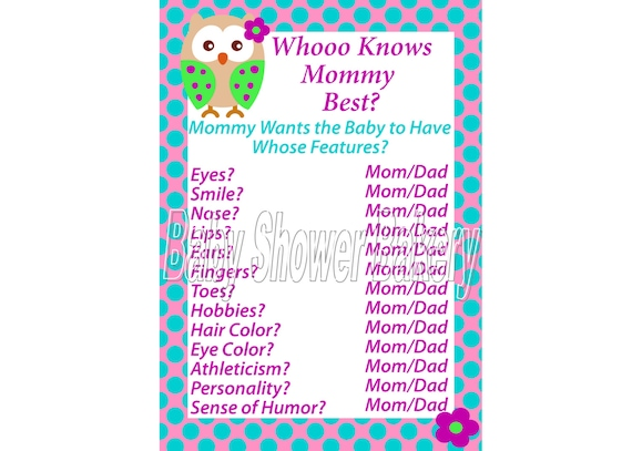 Pink Purple and Turquoise Owl Baby Shower Game Printable Owl Etsy