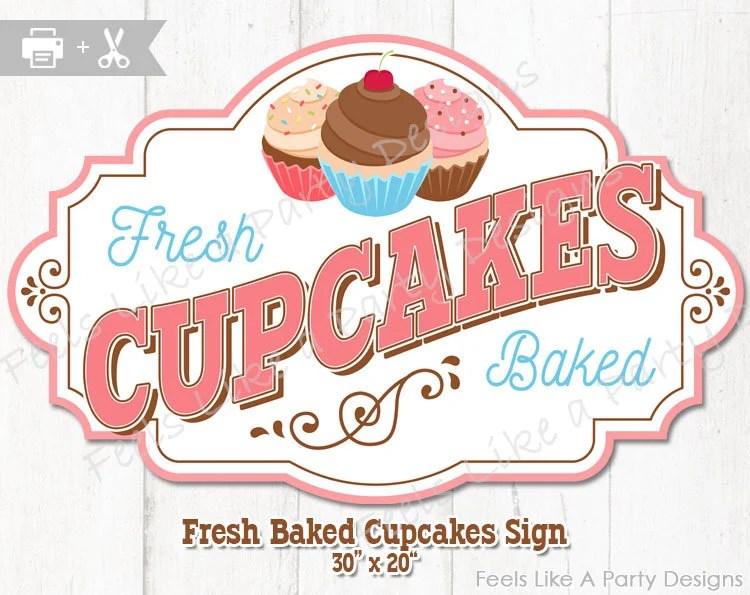 Cupcake Sign DIY Instant Download Carnival Signs Cupcake Etsy