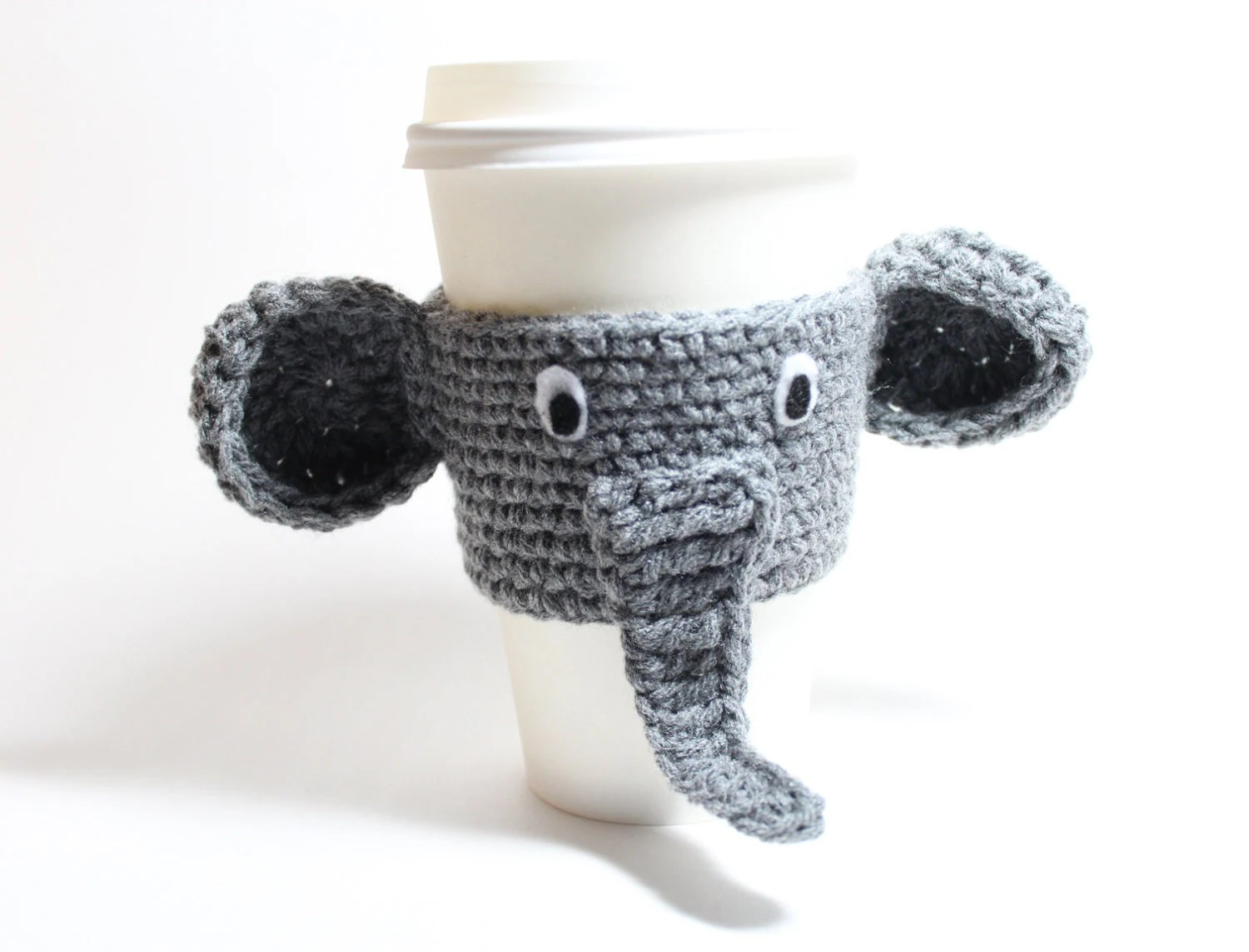 Animal Coffee Cups Coffee Cozy Elephant Coffee Sleeve Crochet Animal Can Wrapper Java Jacket Travel Drink Cup Holder