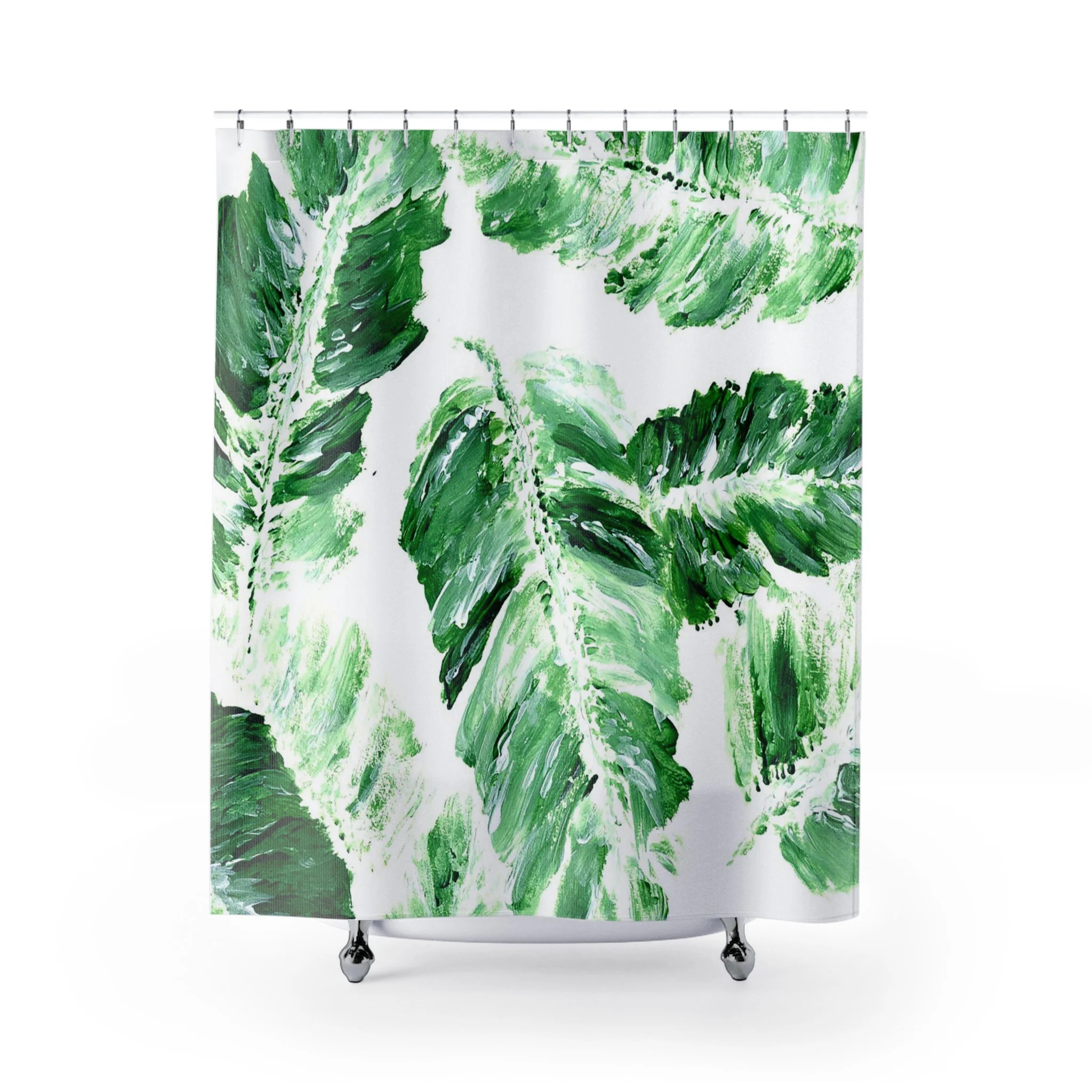Banana Leaf Shower Curtain Banana Leaf Shower Curtain Palm Leaf Shower Curtain Banana Leaf Curtain Palm Leaf Curtain Palm Leaf Bathroom Banana Leaves