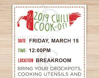 Chili Cook Off Table Tents Etsy