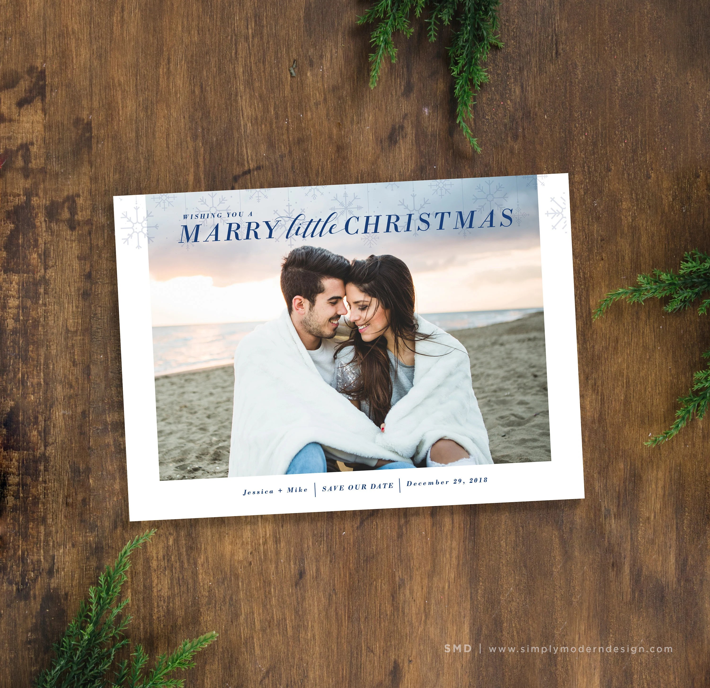 Christmas save the date card, marry christmas, save our date