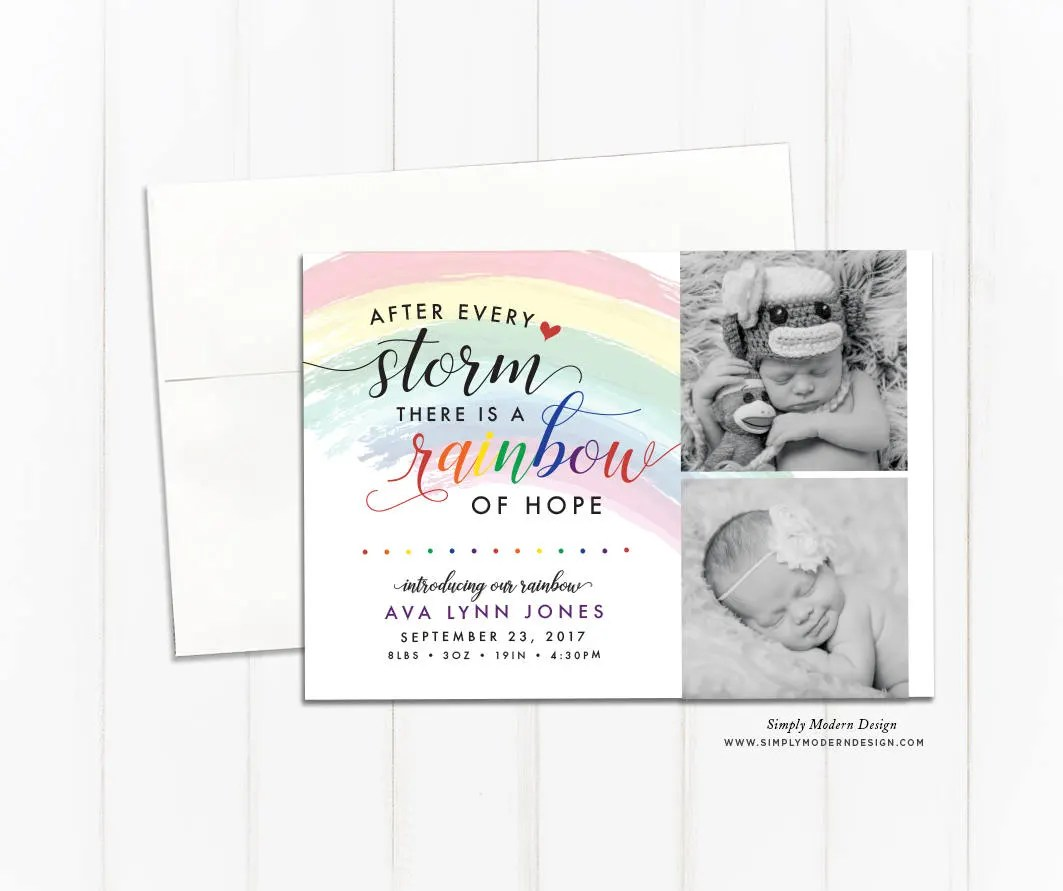 rainbow baby birth announcement, rainbow of hope, pregnancy loss
