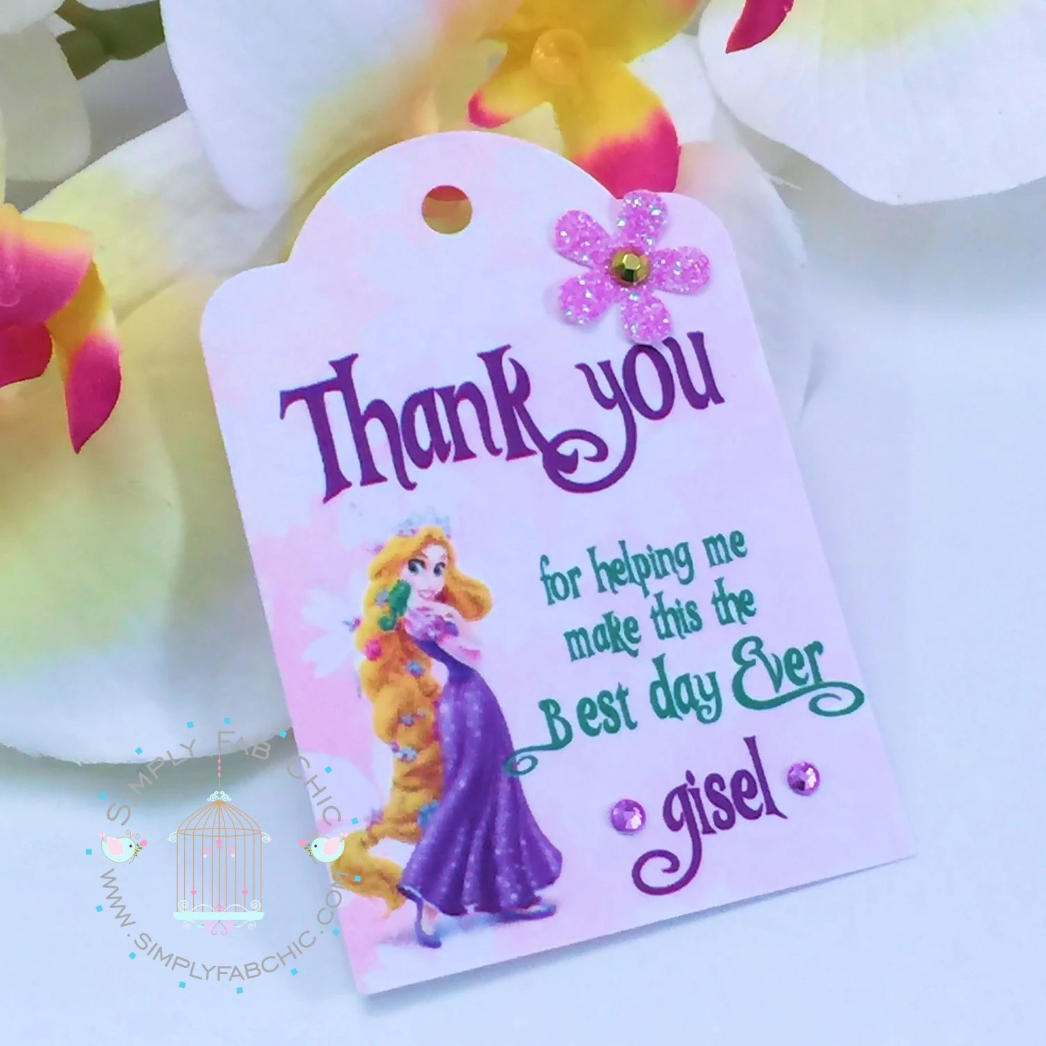 Rapunzel Thank You Favor tags Favors Custom Personalized Labels
