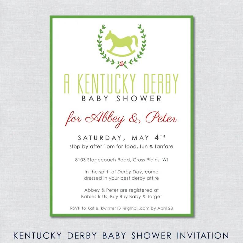 Kentucky Derby Baby Shower Invitation Digital File Etsy