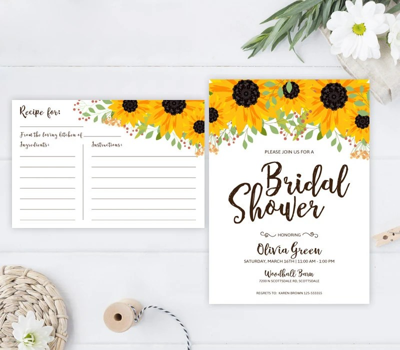 PRINTED Fall bridal shower invitation and recipe card Rustic Etsy