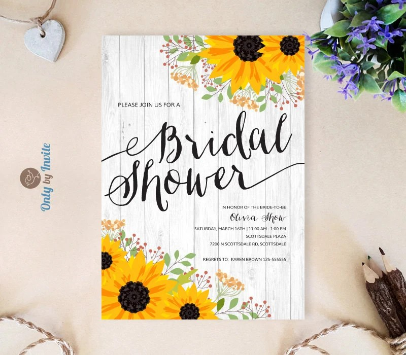 Sunflower bridal shower invitations printed on premium paper Etsy