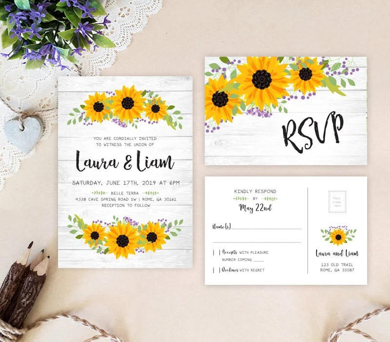 PRINTED Farm wedding invitation with RSVP postcard Etsy