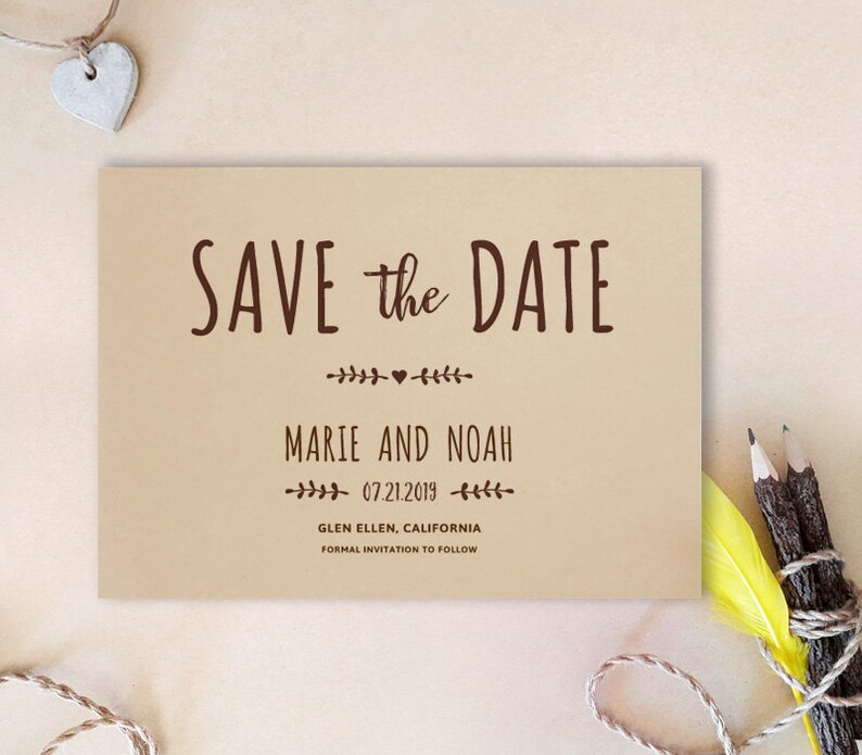 PRINTED Simple save the date card Kraft wedding save the Etsy