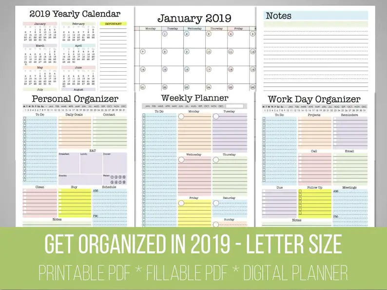 Get Organized in 2019 Letter Size Yearly Planner Monthly Etsy
