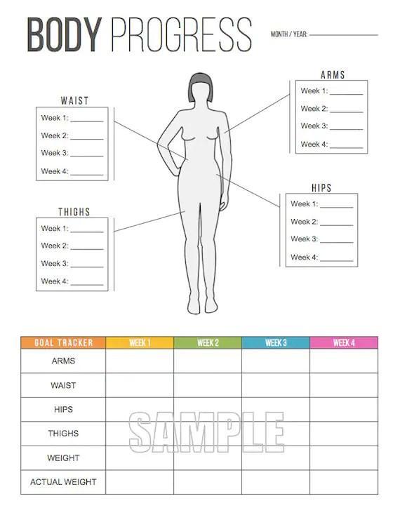 Body Progress Tracker Printable Body Measurements Tracker Etsy